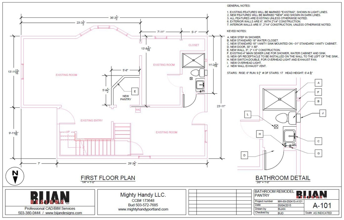 Remodel Bathroom Permit permit drawings - bijan designs inc.
